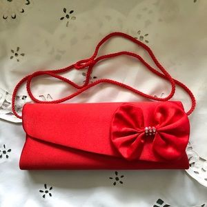 🔥4 for $25🔥Jessica McClintock Red Satin Clutch